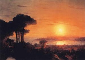 Закат солнца в бухте Золотой Рог